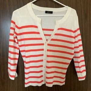 White and Pink Striped Cardigan